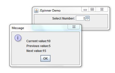 Creating Spinner Using JSpinner Class