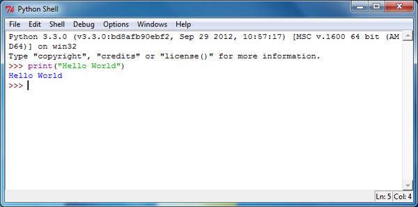 Python IDLE Hello World