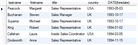SQL WHERE greater than operator example