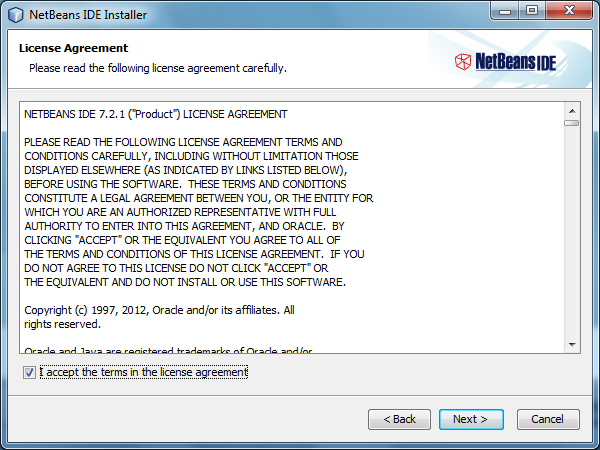 "Check the checkbox ""accept the terms in the license agreement"" and click Next button"