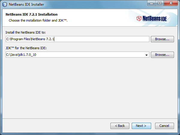 Choose the installation folder and JDK and click Next button