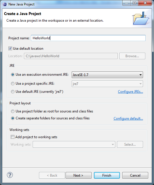 Eclipse - Enter Java Project
