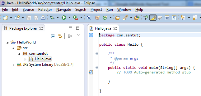 Eclipse - Hello Java Class Source Code